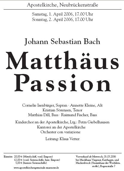 2006 Matthäus Passion Plakat