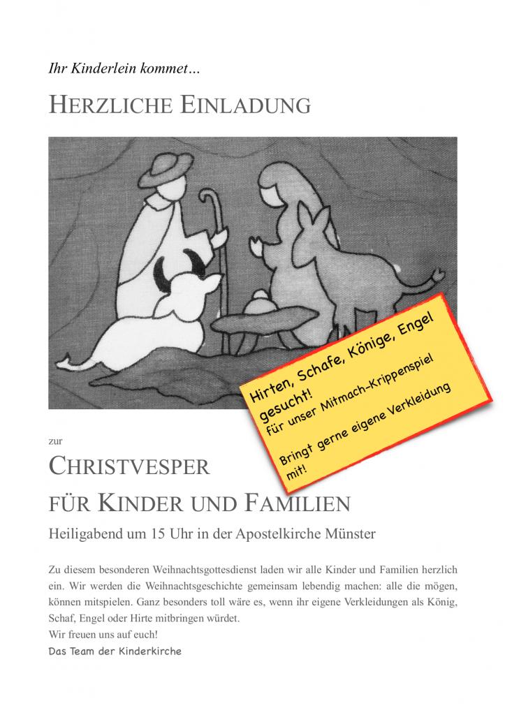 Ankündigung Christvesper für Kinder und Familien